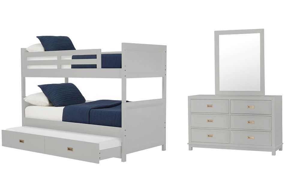 Ryder Gray Bunk Bed Trundle Bedroom