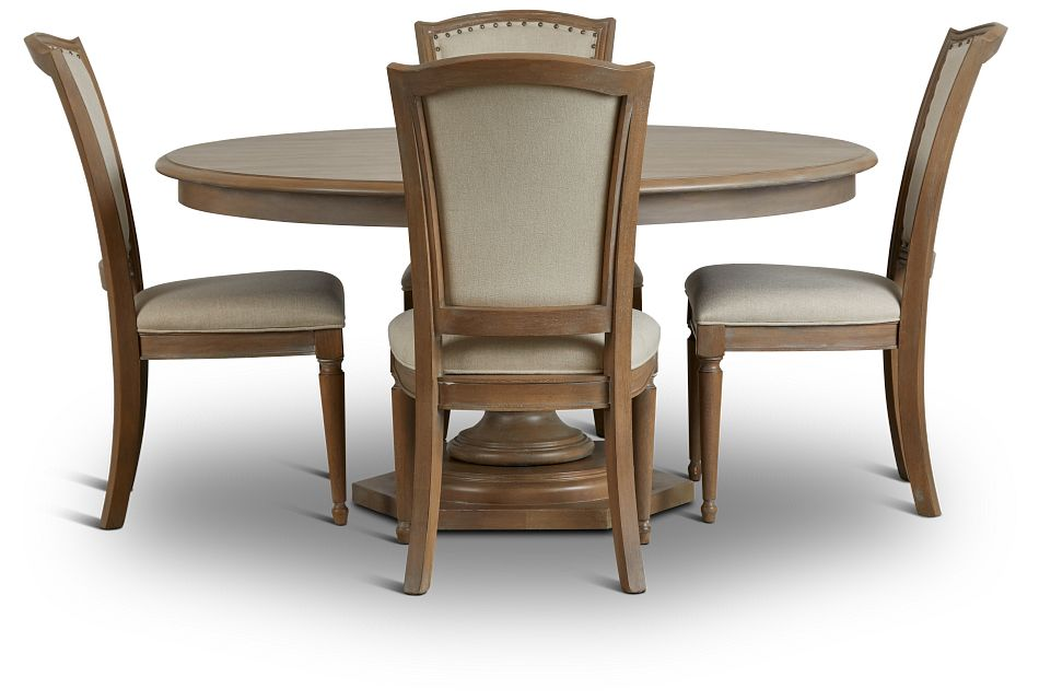 Haddie Light Tone Round Table & 4 Wood Chairs,  (2)