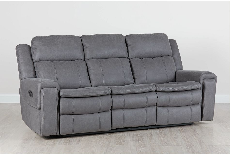 Scout Gray Micro Reclining Sofa,  (0)