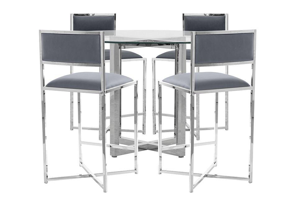 Amalfi Gray Glass High Table & 4 Metal Barstools