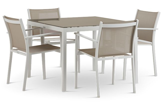 """Aventura Champagne 40"""" Table & 4 Arm Chairs"""