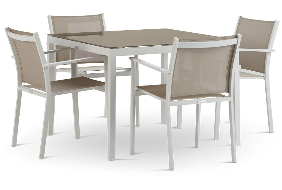 "Aventura Champagne 40"" Table & 4 Arm Chairs"