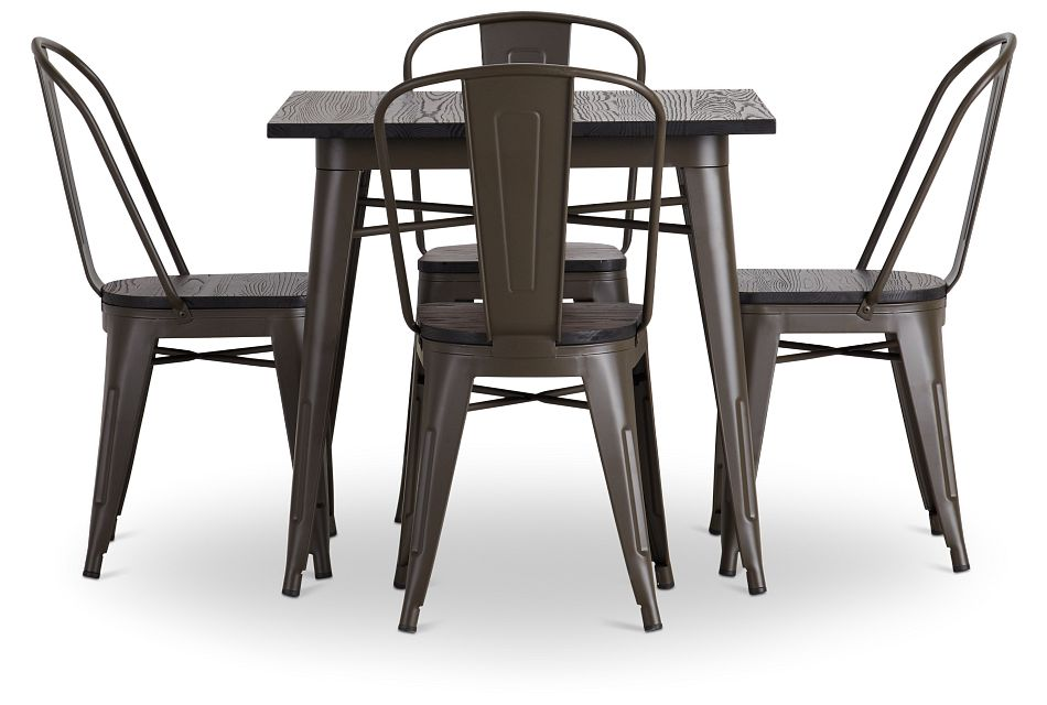 Harlow Dark Tone Square Table & 4 Wood Chairs
