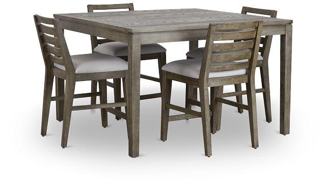 Bravo Dark Tone Square High Table & 4 Slat Barstools