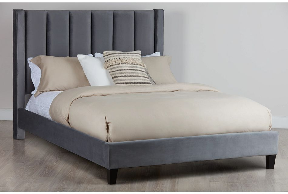 Audrey Dark Gray Velvet Platform Bed
