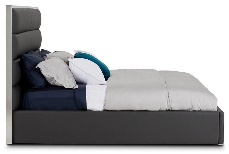 Cortina Gray Uph Platform Bed, King (2)