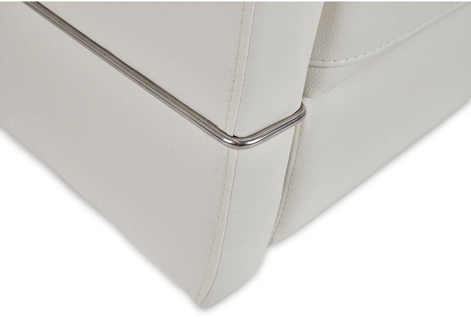 Cato White Leather Power Swivel Glider Recliner