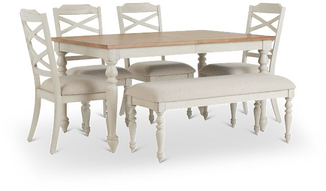 Lexington Two-tone Rect Table, 4 Chairs & Bench (2)