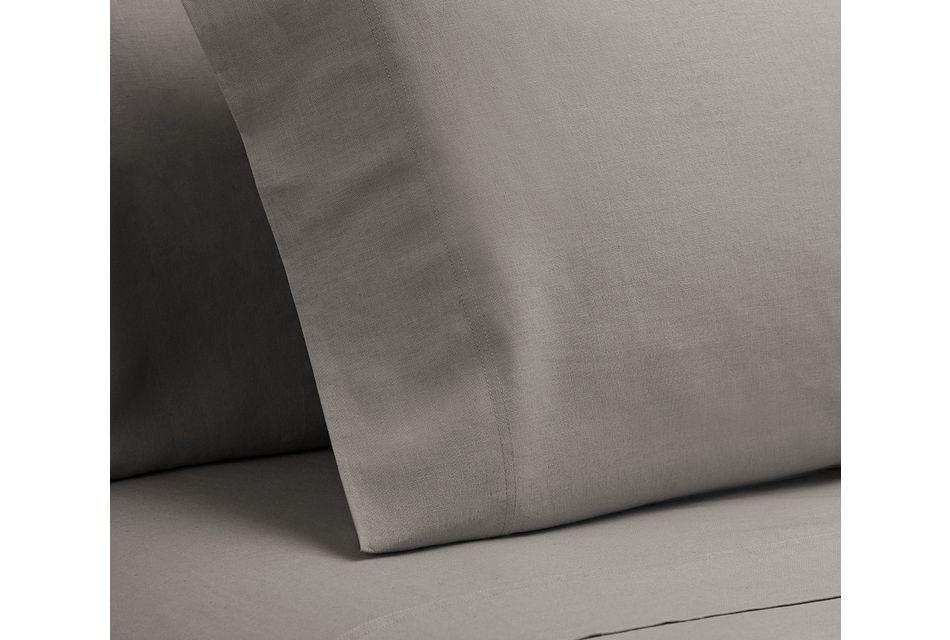 Linen Blend Gray  Set Of 2 Pillowcases, Standard Size (2)