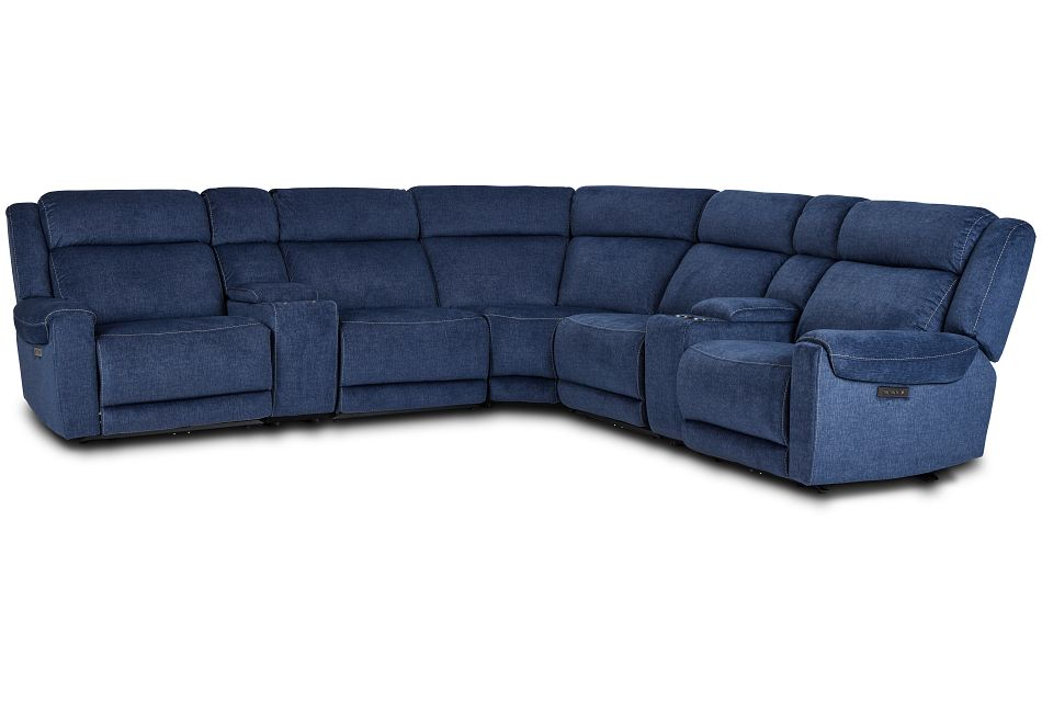 Beckett Dark Blue Micro Large Dual Power Reclining Two-Arm Sectional,  (1)