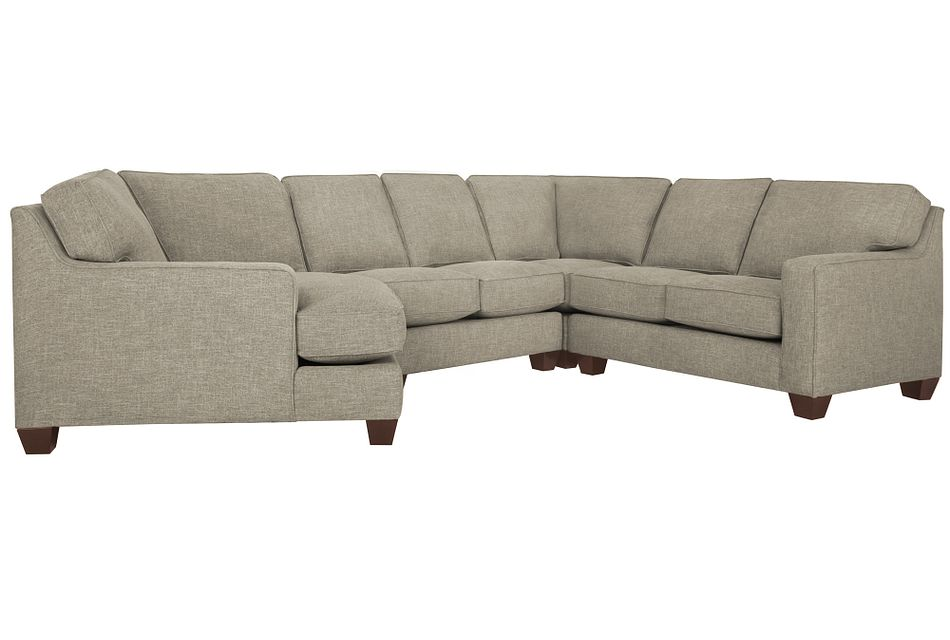 York PEWTER FABRIC Small Left Cuddler Sectional,  (0)