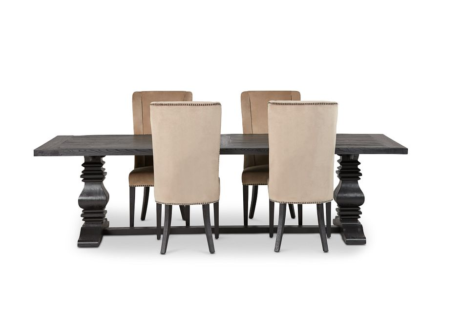 """Hadlow Black 110"""" Table & 4 Velvet Chairs"""