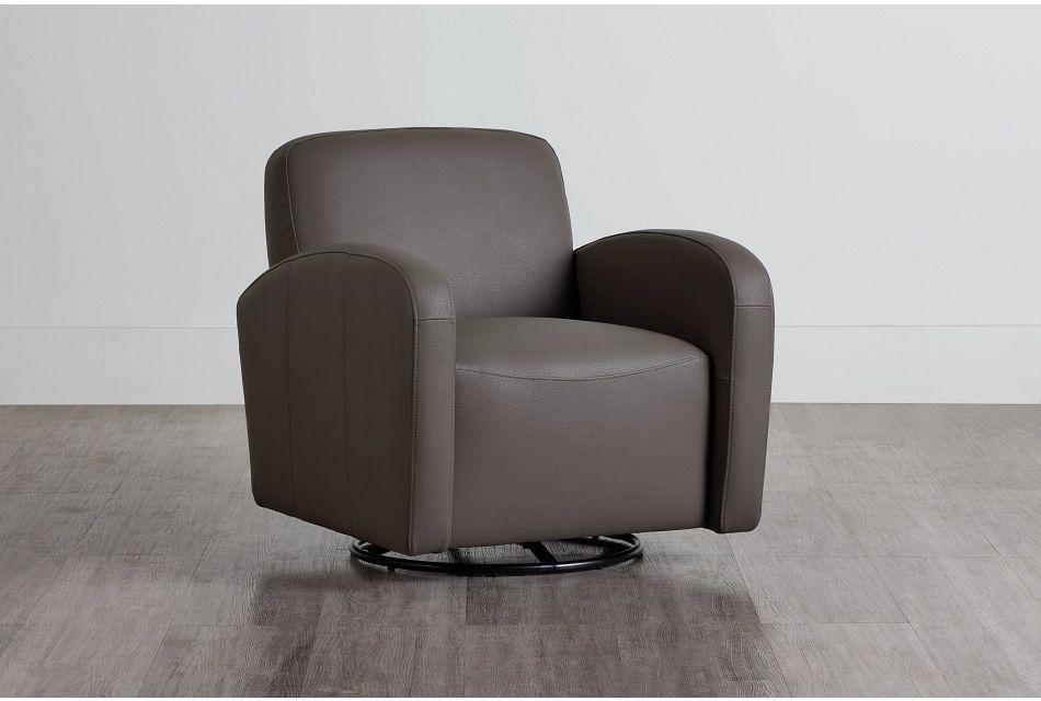 Axis Dark Gray Vinyl Swivel Accent Chair,  (0)