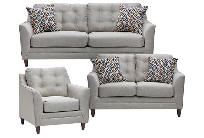Jensen Light Gray Fabric Living Room