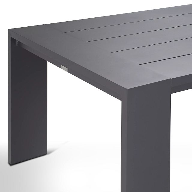 """Linear Dark Gray 110"""" Aluminum Table & 4 Sling Side Chairs (3)"""