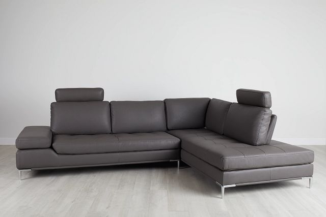 Camden Dark Gray Micro Right Chaise Sectional With Removable Headrest (0)