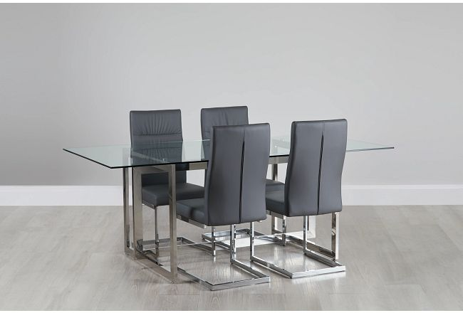 Bronx Glass Gray Table & 4 Upholstered Chairs