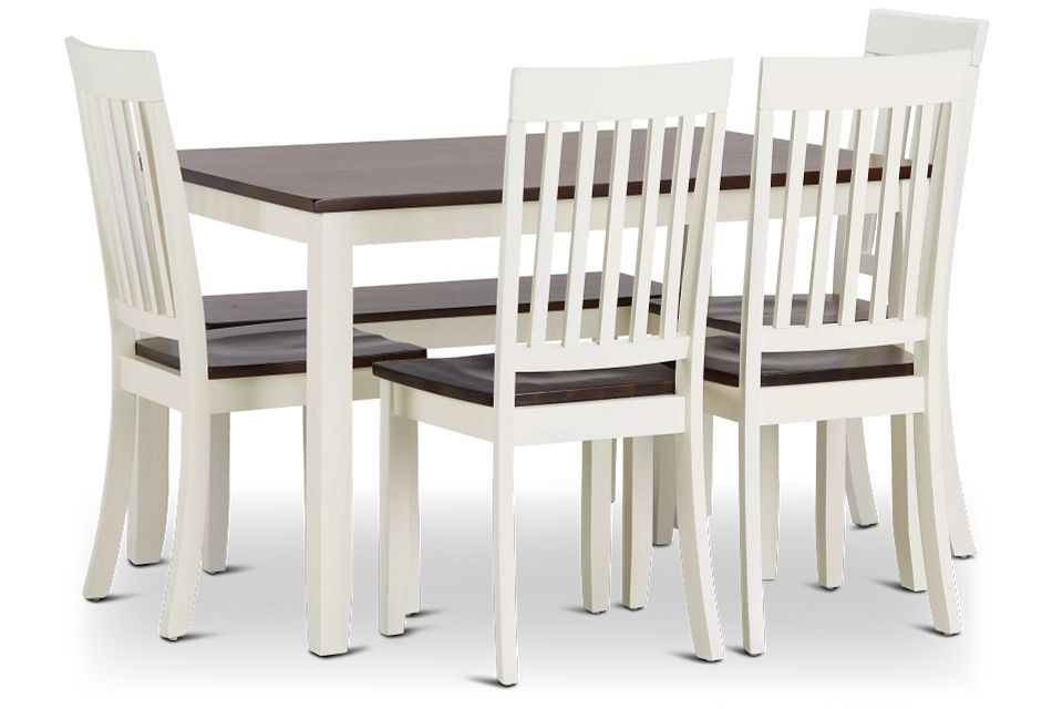 Santos White Two-tone Table, 4 Chairs & Bench