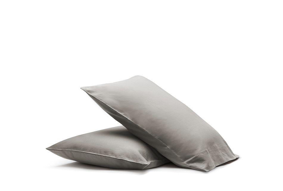 Linen Blend Gray  Set Of 2 Pillowcases, Standard Size (1)