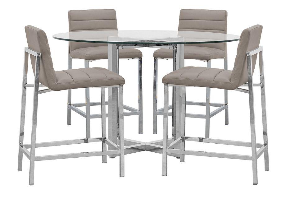 Amalfi Taupe Glass High Table & 4 Upholstered Barstools