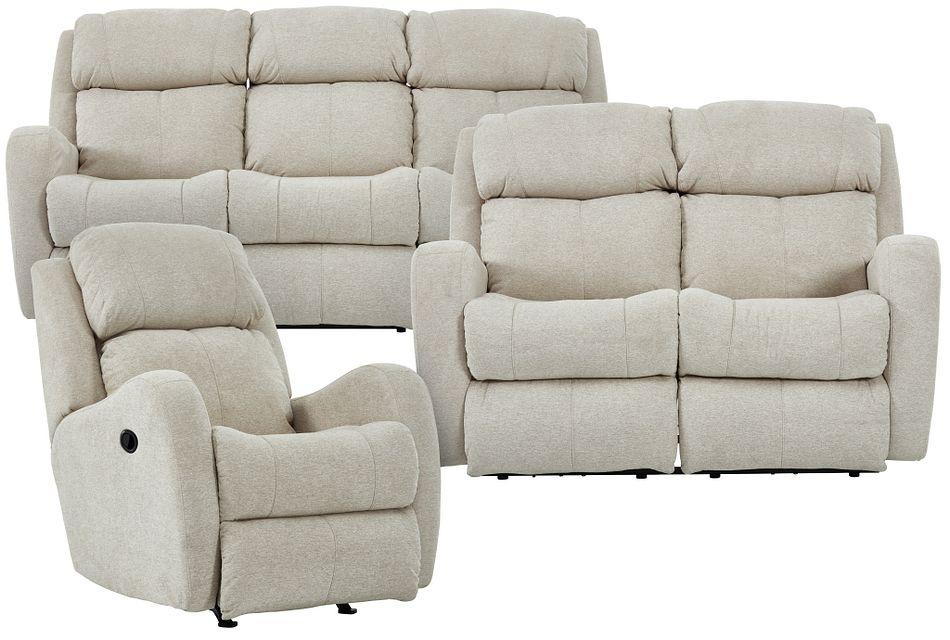 Finn Light Beige Fabric Manually Reclining Living Room