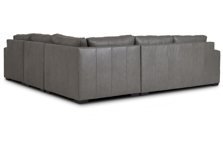 Dawkins Gray Leather Medium Right Chaise Sectional,  (3)