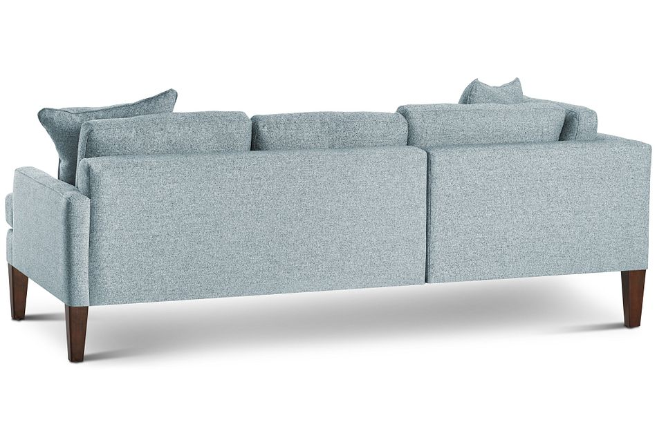 Morgan Teal Fabric Small Left Bumper Sectional W/ Wood Legs