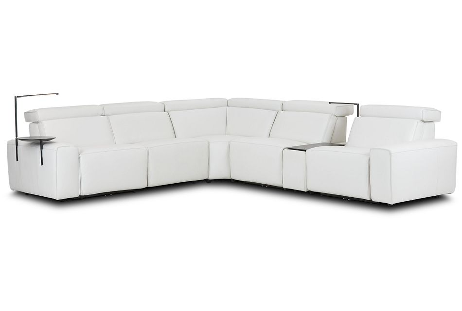 Carmelo White Leather Medium Dual Power Sectional W/left Table & Light
