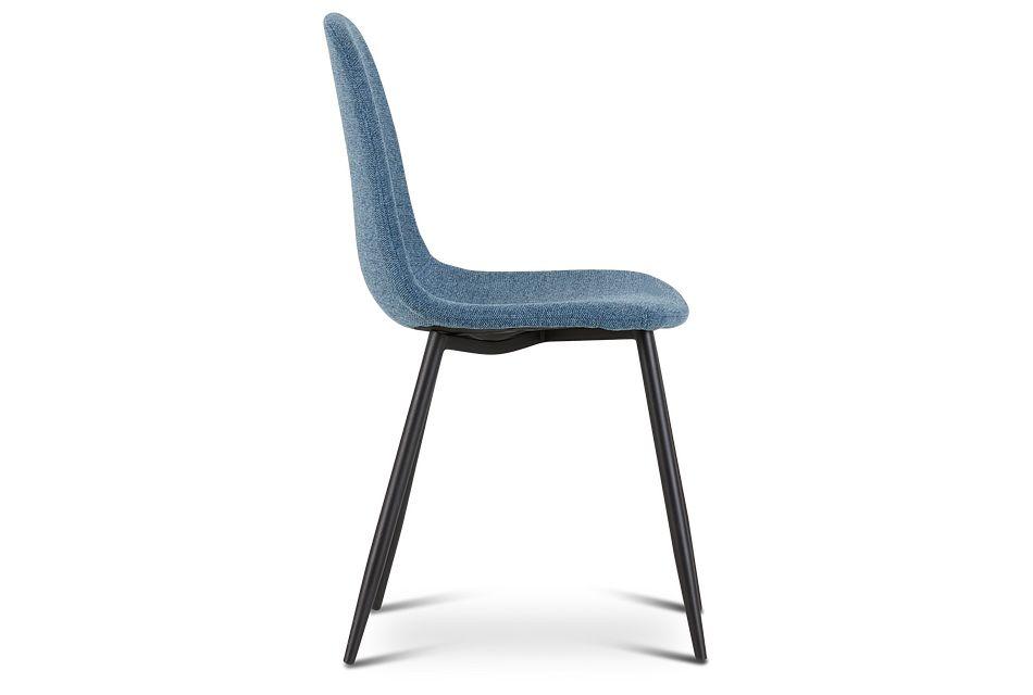 Havana Blue Upholstered Side Chair W/ Black Legs