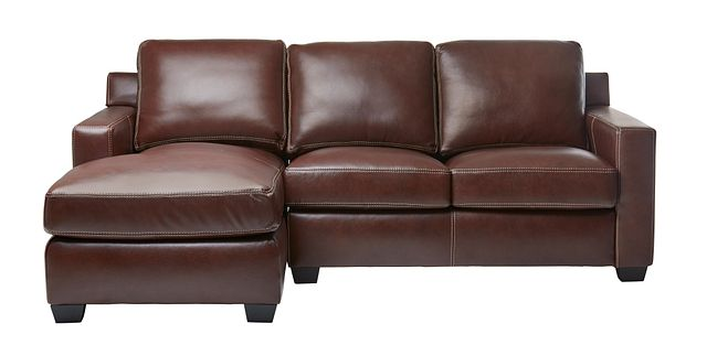 Carson Medium Brown Leather Small Left Chaise Sectional (3)