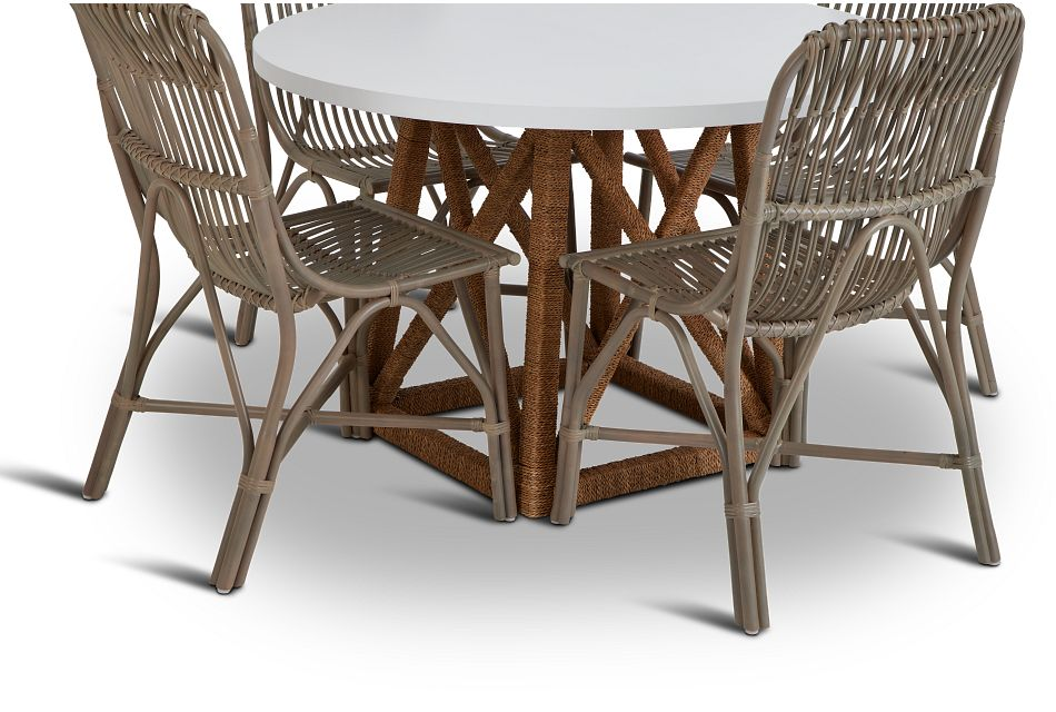 Greenwich Two-tone Round Table & 4 Gray Rattan Chairs