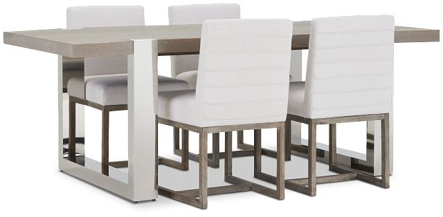 Berlin White Table & 4 Upholstered Chairs (2)