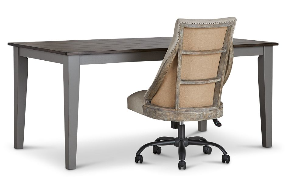 Sumter Gray Desk And Chair,  (2)