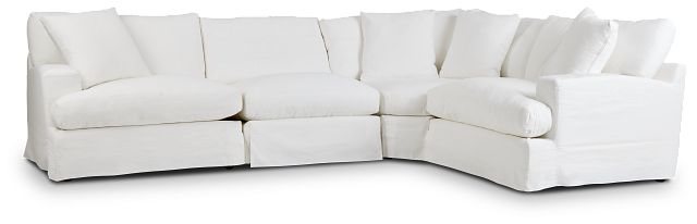 Delilah White Fabric Small Two-arm Sectional (3)