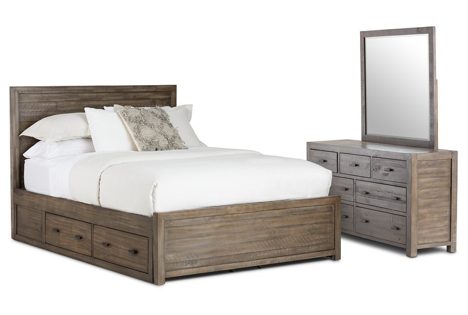 Seattle Gray Wood Platform Storage Bedroom