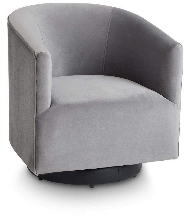 Charlotte Dark Gray Velvet Swivel Accent Chair (1)