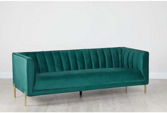 Bella Dark Green Velvet Sofa