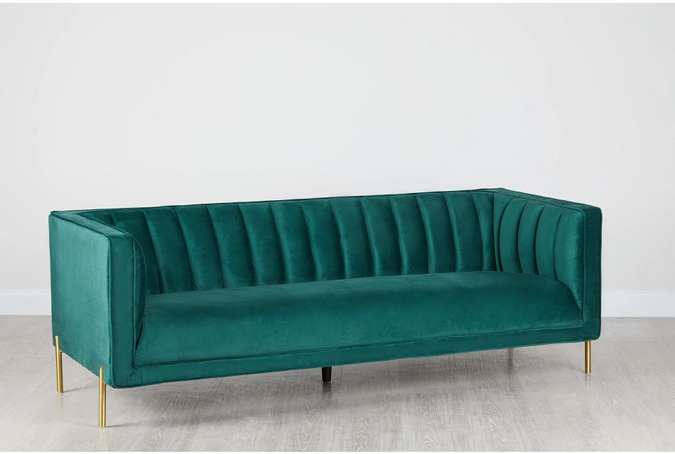 Bella Dark Green Velvet Sofa Living