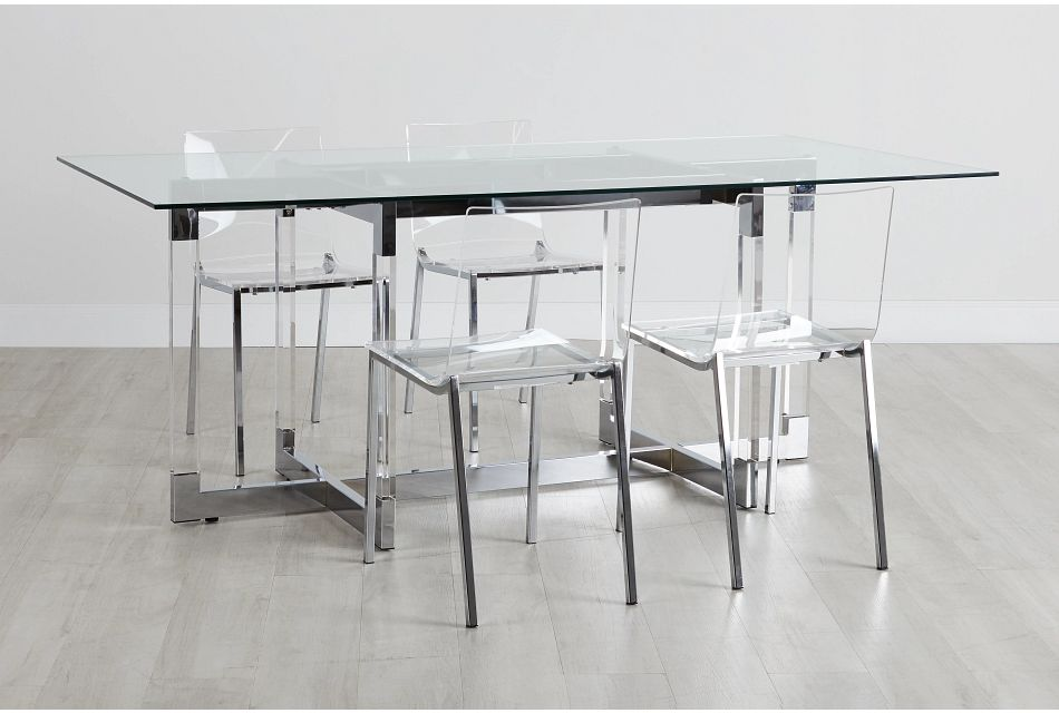 Denmark Glass Rect Table & 4 Chairs,  (0)