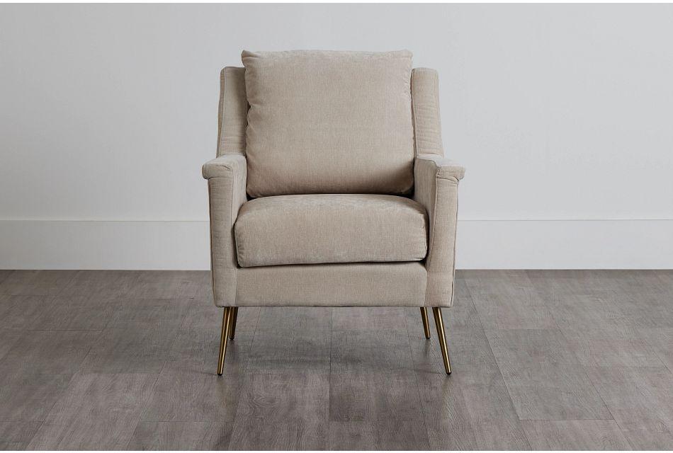 Cambridge Light Beige Velvet Accent Chair,  (0)