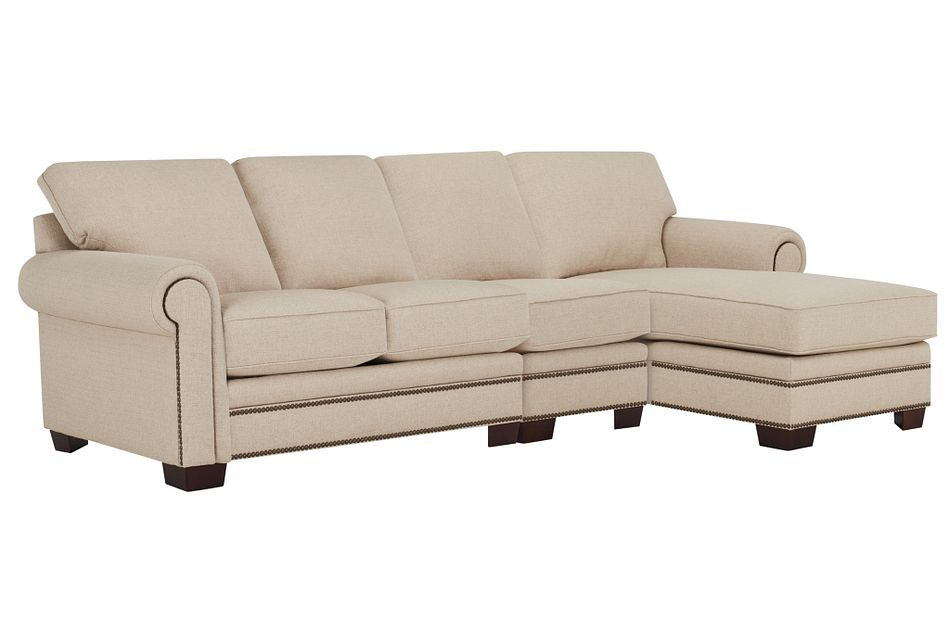 Foster Khaki Fabric Right Chaise Sectional