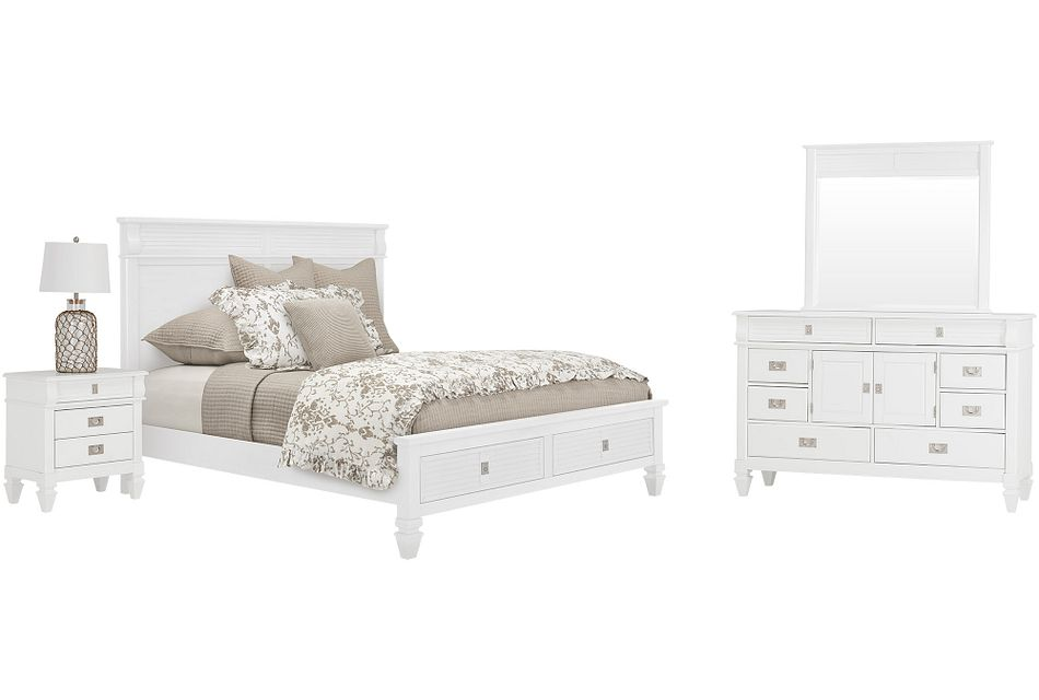 Marina White Panel Storage Bedroom
