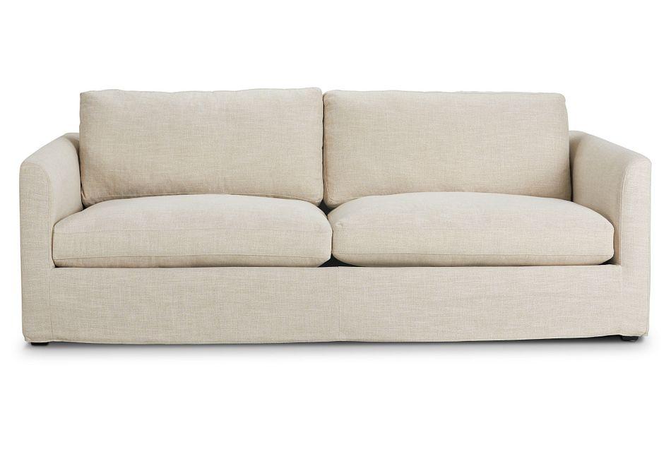 "Willow 89"" Light Beige Fabric Sofa,  (1)"