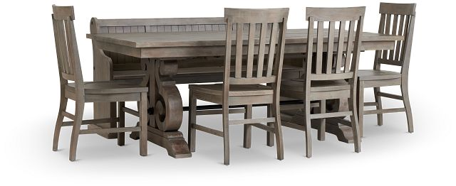 Sonoma Light Tone Trestle Table, 4 Chairs & Bench