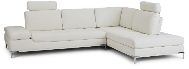 Camden White Micro Right Chaise Sectional With Removable Headrest (1)