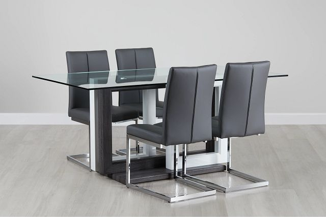 London Glass Gray Table & 4 Upholstered Chairs (0)