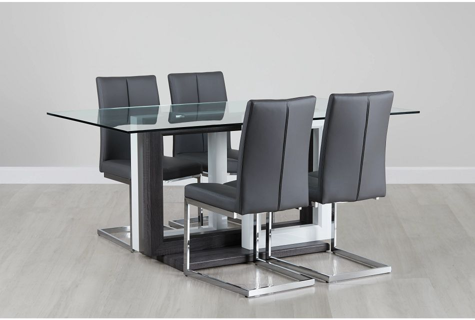 London Glass Gray Table & 4 Upholstered Chairs