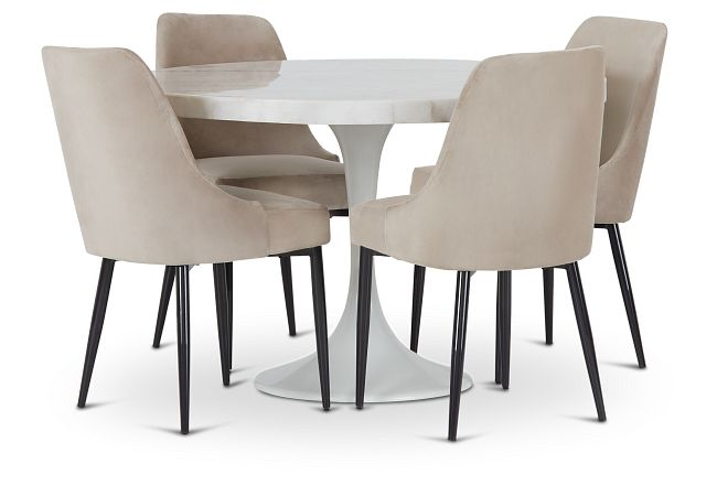 """Violet Gray 48"""" Round Table & 4 Upholstered Chairs"""