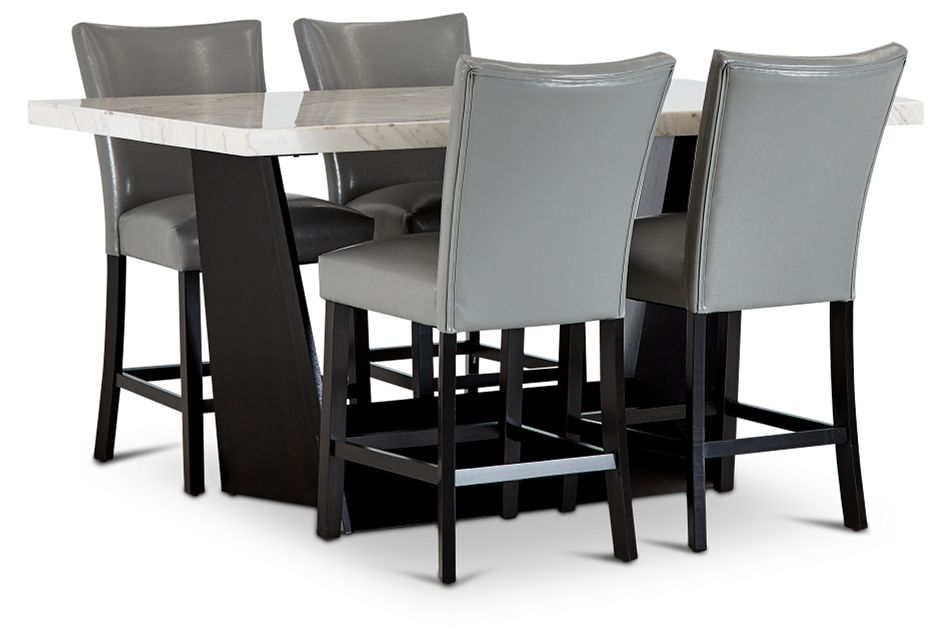 Auburn White High Table & 4 Gray Upholstered Barstools, %%bed_Size%% (1)