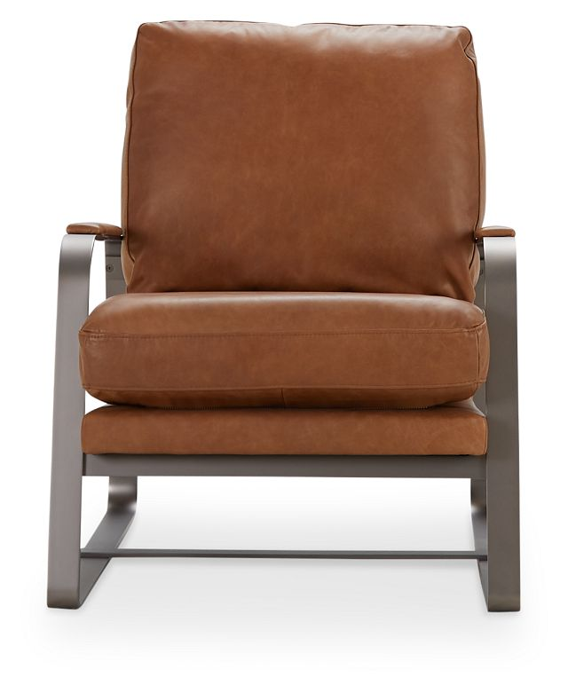 Lex Brown Leather Accent Chair (3)